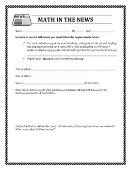 Math in the News with rubric