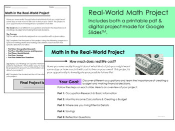 Math in the Real World Project: Investigating Jobs and Salaries