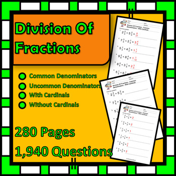 Math is FUN! - Fractions Division - 280 Pages - Over 1,900 Questions