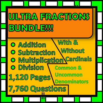 Math is FUN! Fractions Four Basic Operations! 7,760 Questions
