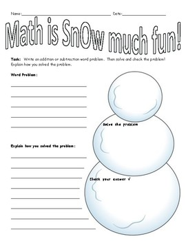 Math is SnOw much fun- solve and create addition/subtraction word problems!