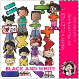 Math kidlettes 1 clip art - BLACK AND WHITE- by Melonheadz
