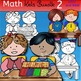Math kids clip art set 2-Color and B&W.