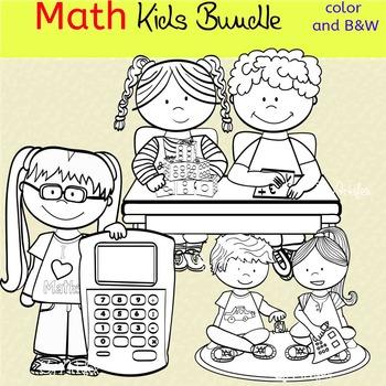 Math kids clip art set -Color and B&W.