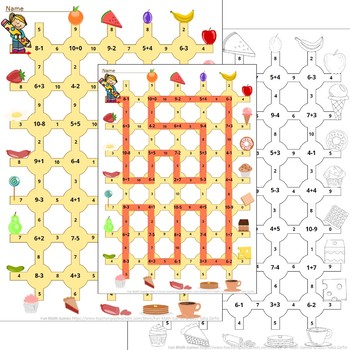 Math maze game (Addition to 10 Subtraction within 10) NO PREP!