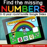 Math missing number 0-10 Google slides activity bundle for the 4 seasons