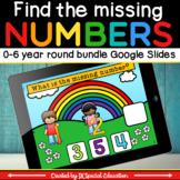 Math missing number 0-6 Google slides activity bundle for the 4 seasons