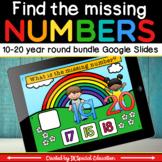 Math missing number 10-20 Google slides activity bundle for the 4 seasons