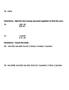 Math money Test