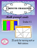Math morning work. 20 five minute challenges on cards!