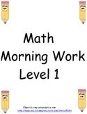 Math morning work: level one