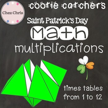 Saint Patrick's Day Math multiplication cootie catchers: tables from 1 to 12