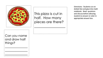 Math notebook fractions pizza