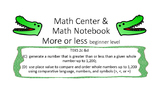 Math notebook more or less plus center