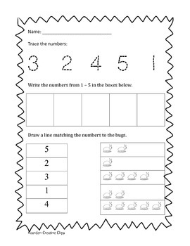 FREE Math numbers 1 - 5  Pre-k to K