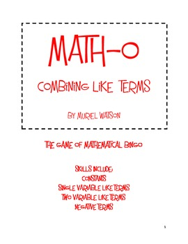 Math-o: Combining Like Terms