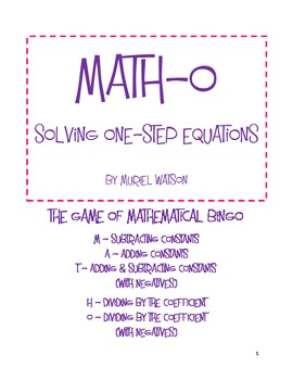 Math-o: Solving One-Step Equations