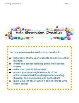 Math observation checklist for assessment or evaluation!