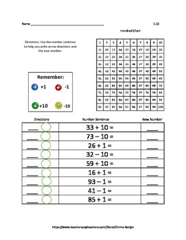Math on the Hundred Chart (Arrow Math) Set 1