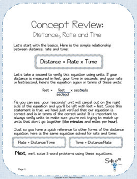 Distance, Rate and Time