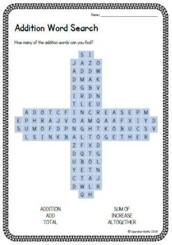 Math Operations - Word Searches