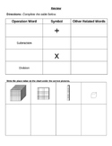 Math operations vocabulary and place value review sheet/practice