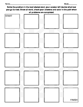 Math (or any subject) Problem Maze Template