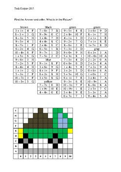 Math pixelart. Find the Answer and color.