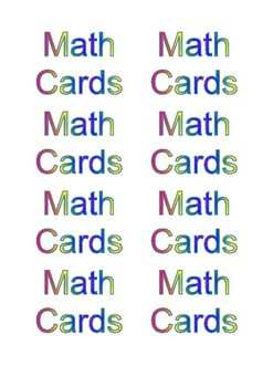 Math playing cards