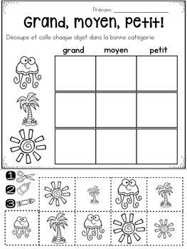 FRENCH Summer No Prep Math Worksheets - Cut & Paste (maternelle)
