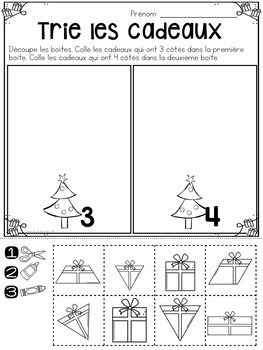 french christmas no prep math worksheets no l cut paste maternelle. Black Bedroom Furniture Sets. Home Design Ideas