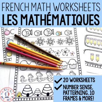 French MATH Worksheets (No Prep!) - Kindergarten (maternelle)