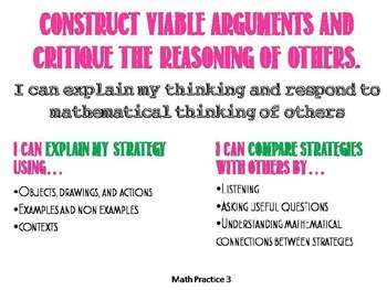 Math practice standards posters Grade 2-3