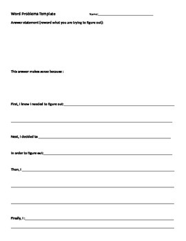Math problem solving template with justification