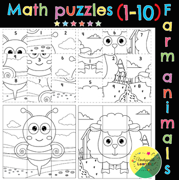 Math puzzles. Addition and subtraction (numbers 1-10). Farm animals
