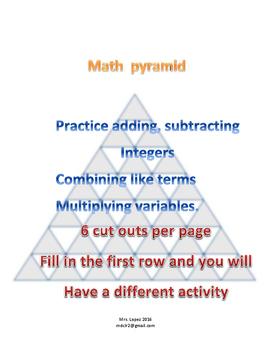 Math pyramid Bell Activities