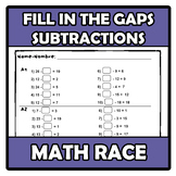 Math race - Carrera matemática - Fill in the gaps: subtractions