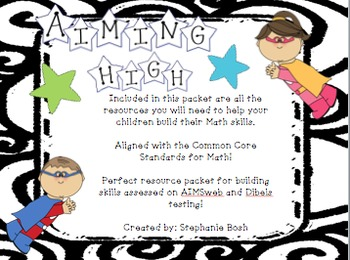 Math resources ~Common Core ~ perfect for preparing for AIMSweb or Dibels