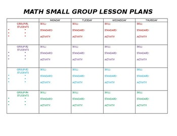 Math small group lesson plan template