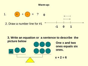 Math solving one step equations using a balance beam and manipulatives
