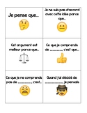 Math talk Cards French Les Discussions Responsables (Emoji Theme)