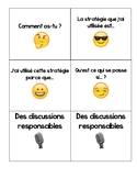 Math talk cards French Les Discussions responsables -Preview