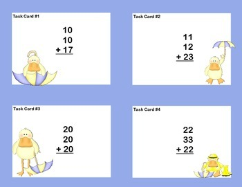 Math Task Cards Second Grade Adding Three and Four Two-digit Numbers