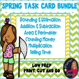 Math task card bundle add, subtract, money, perimeter, estimate