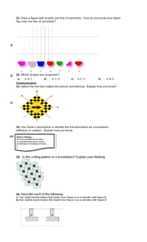 Math test Geometry & Spatial Sense (rotation, translation, reflection) gr 5