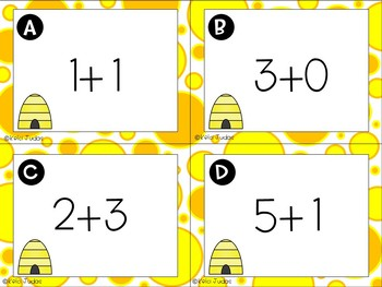 Math the Room- Bee Addition Task Cards