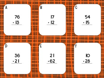 Fall 2 Digit Addition Without Regrouping Task Cards