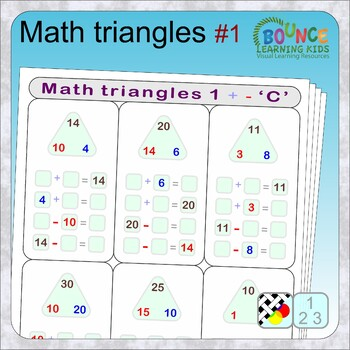 Math triangles 1 (9 distance learning worksheets for Numeracy)