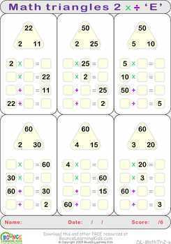 Math triangles 2 (9 distance learning worksheets for Numeracy)