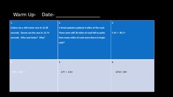 Math warm ups- fractions, decimals, integers